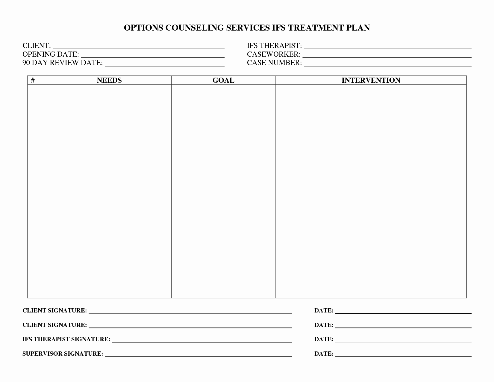 Counseling Treatment Plan Template Inspirational Treatment Plan forms Mental Health Printable Google