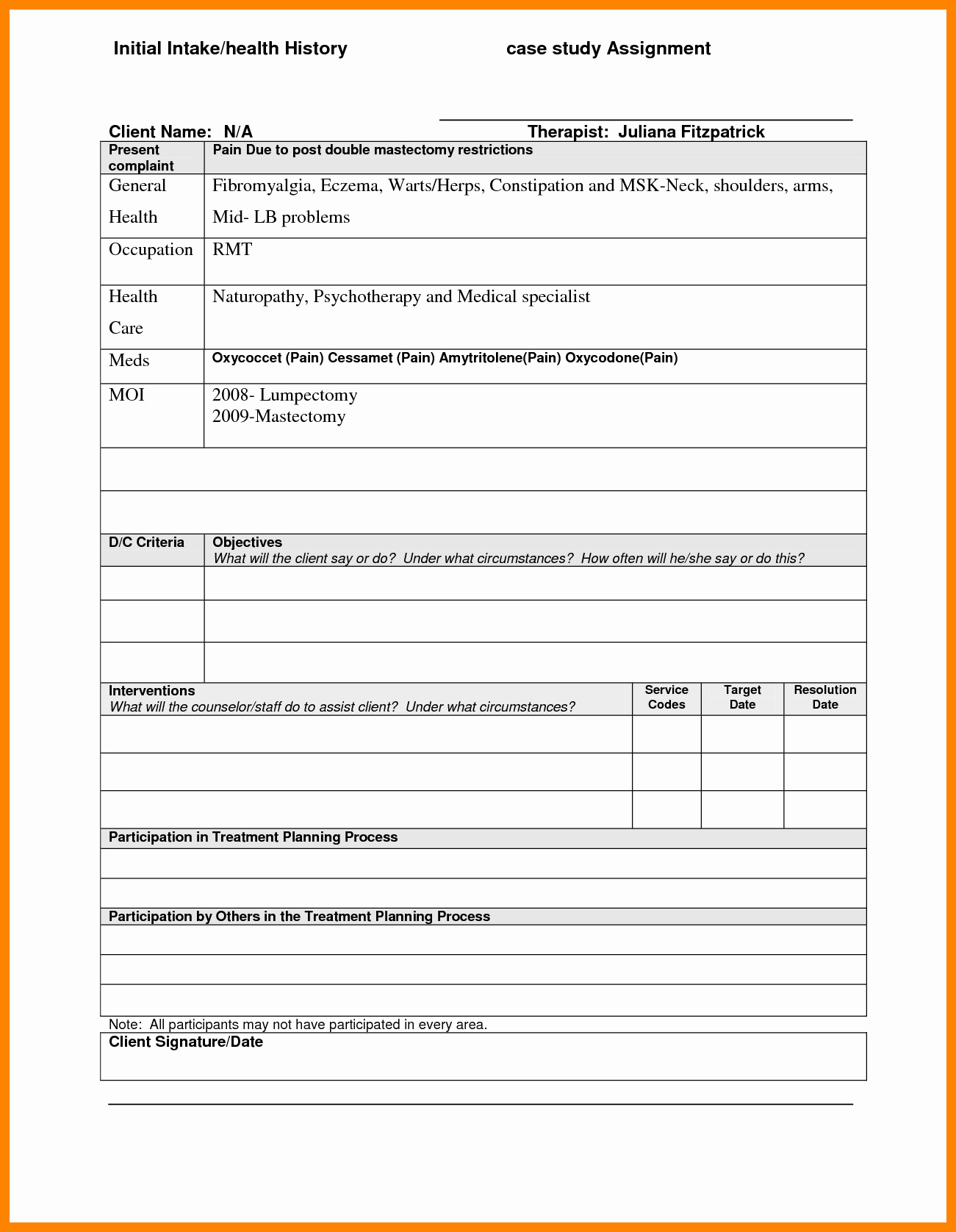 Counseling Treatment Plan Template Unique 27 Of Template Treatment Plans