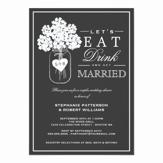 Couples Shower Invitations Template Elegant Eat Drink & Get Married Couples Shower Invitation