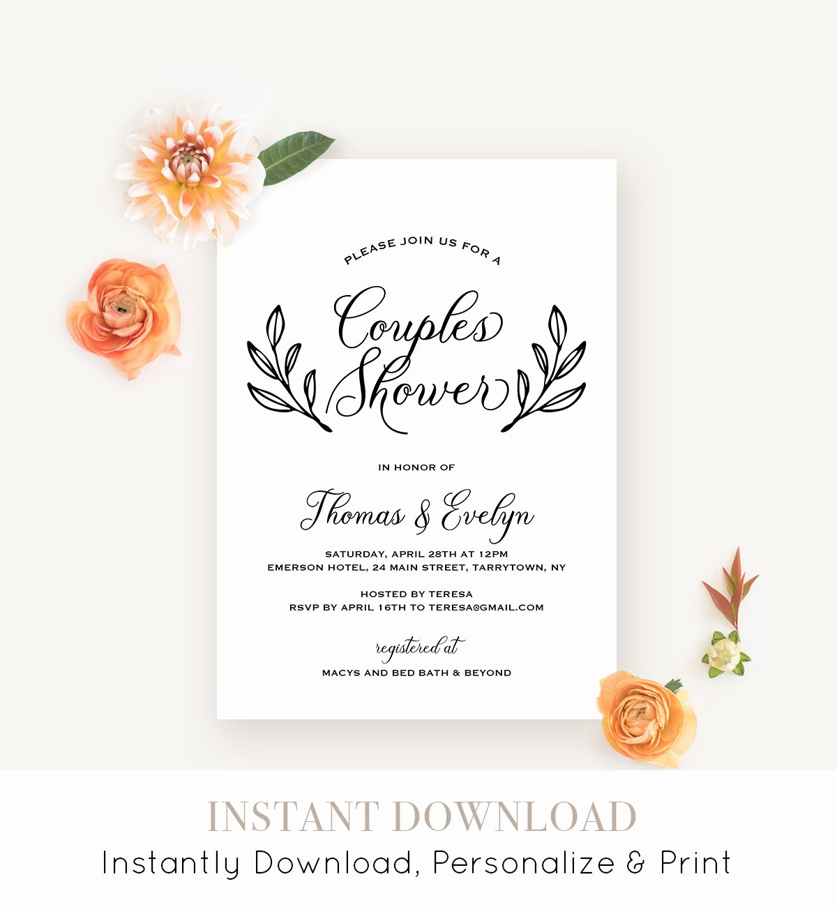 Couples Shower Invitations Template Lovely Couples Shower Invitation Template Printable Wedding Shower