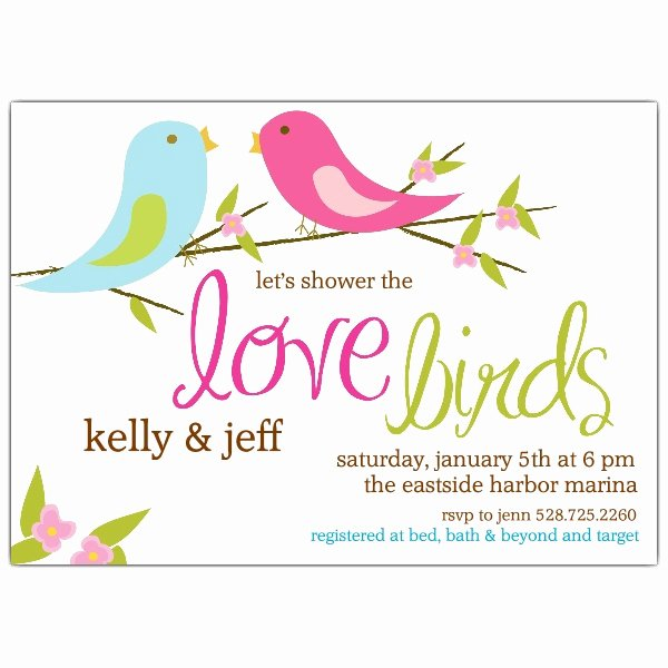 Couples Shower Invitations Template Lovely Love Birds Bridal Shower Invitations