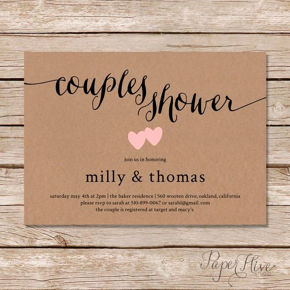 Couples Shower Invitations Template Luxury Rustic Couples Shower Invitation Kraft Couples Wedding