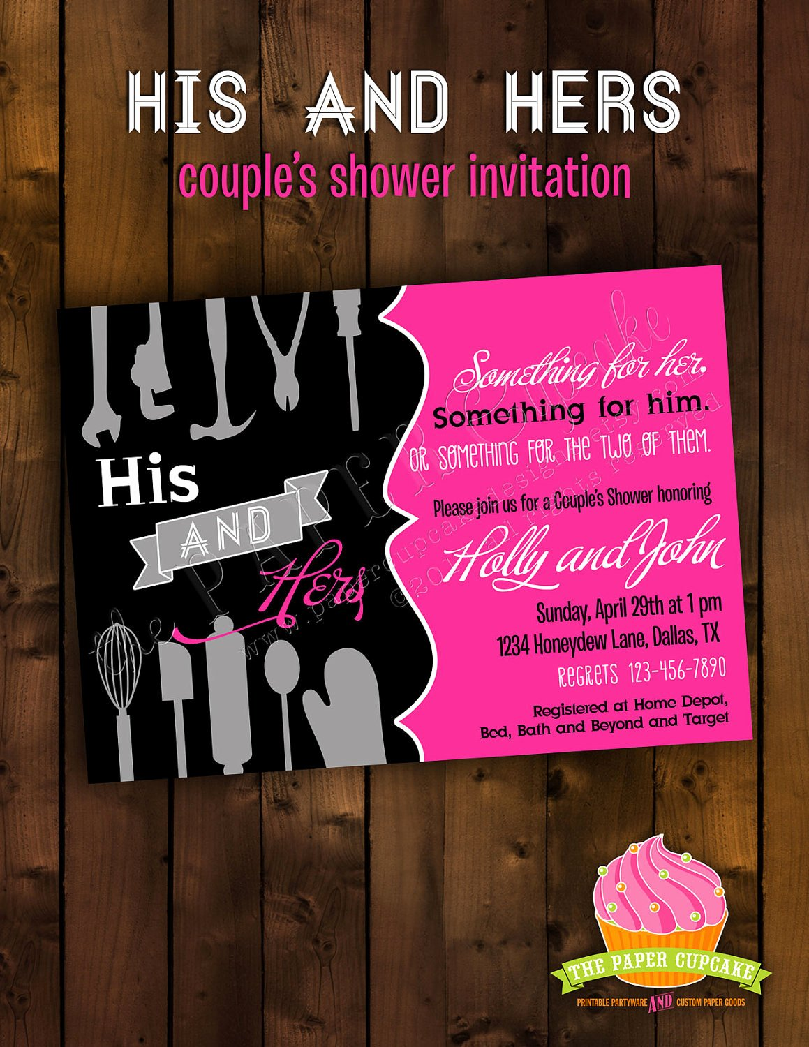 Couples Shower Invitations Template Unique Printable Bridal Shower Invitation Design His and Hers
