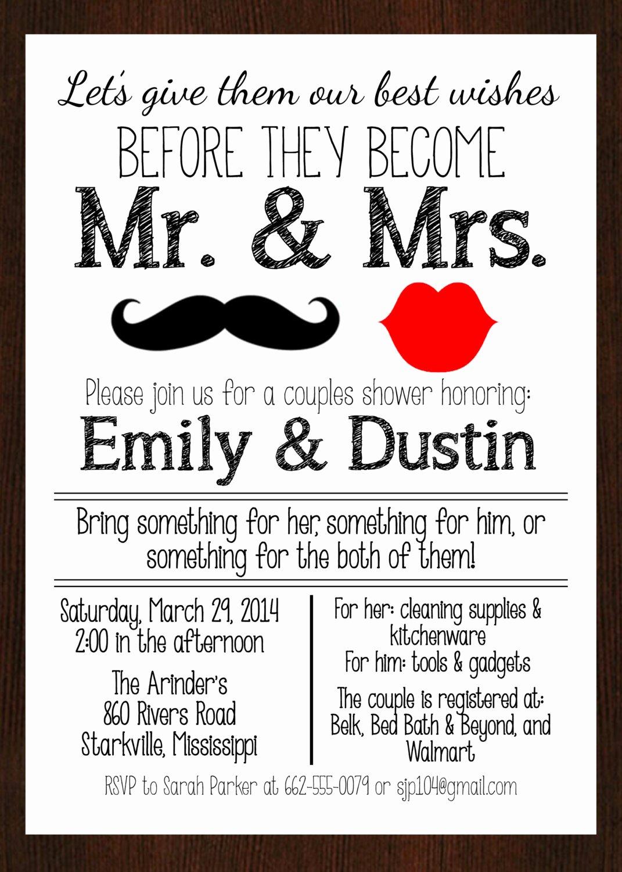 Couples Shower Invitations Template Unique Printable Mr & Mrs Couples Wedding Shower Invitation Lips