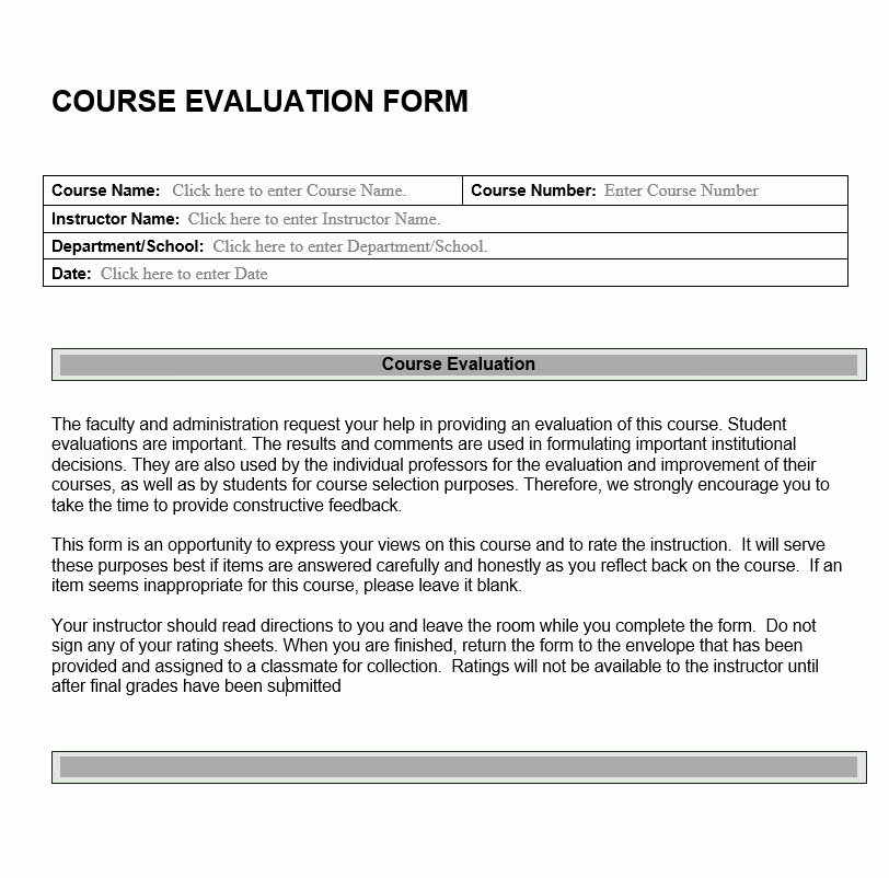 Course Evaluation form Template Lovely Course Evaluation form