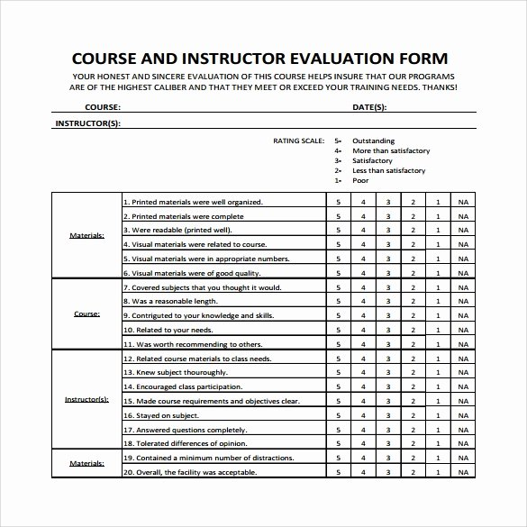 Course Evaluation form Template New Instructor Evaluation form 8 Download Free Documents In Pdf