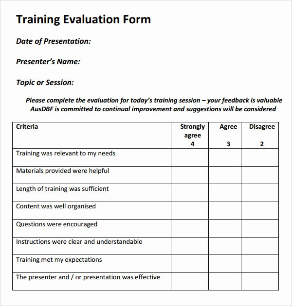 Course Evaluation Template Word Elegant 15 Sample Training Evaluation forms – Pdf