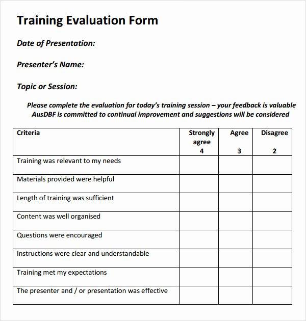 Course Evaluation Template Word Elegant 15 Sample Training Evaluation forms – Pdf