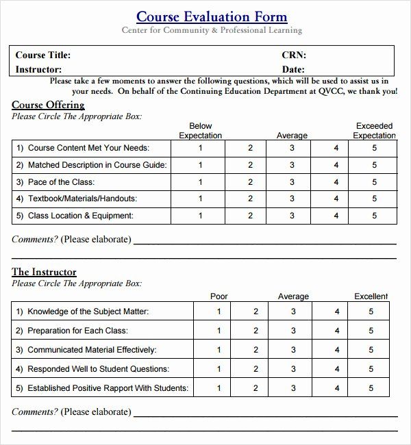 Course Evaluation Template Word Fresh Class Evaluation Template 10 Free Download for Pdf