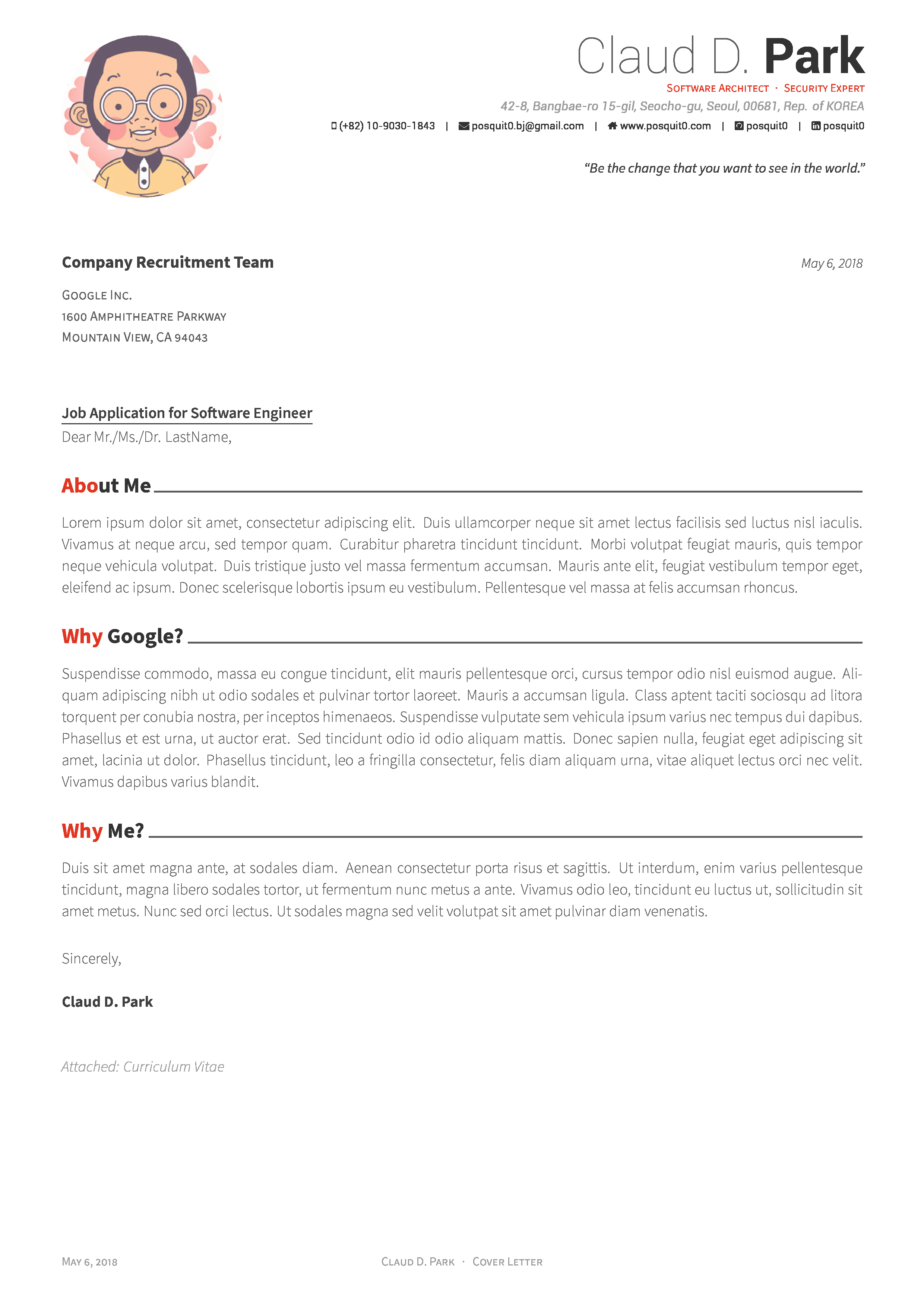 Cover Letter Latex Template Beautiful Github Posquit0 Awesome Cv Awesome Cv is Latex Template
