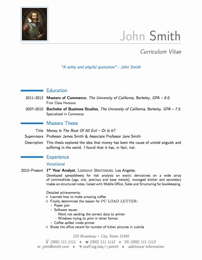 Cover Letter Latex Template Lovely Latex Templates Curricula Vitae Résumés