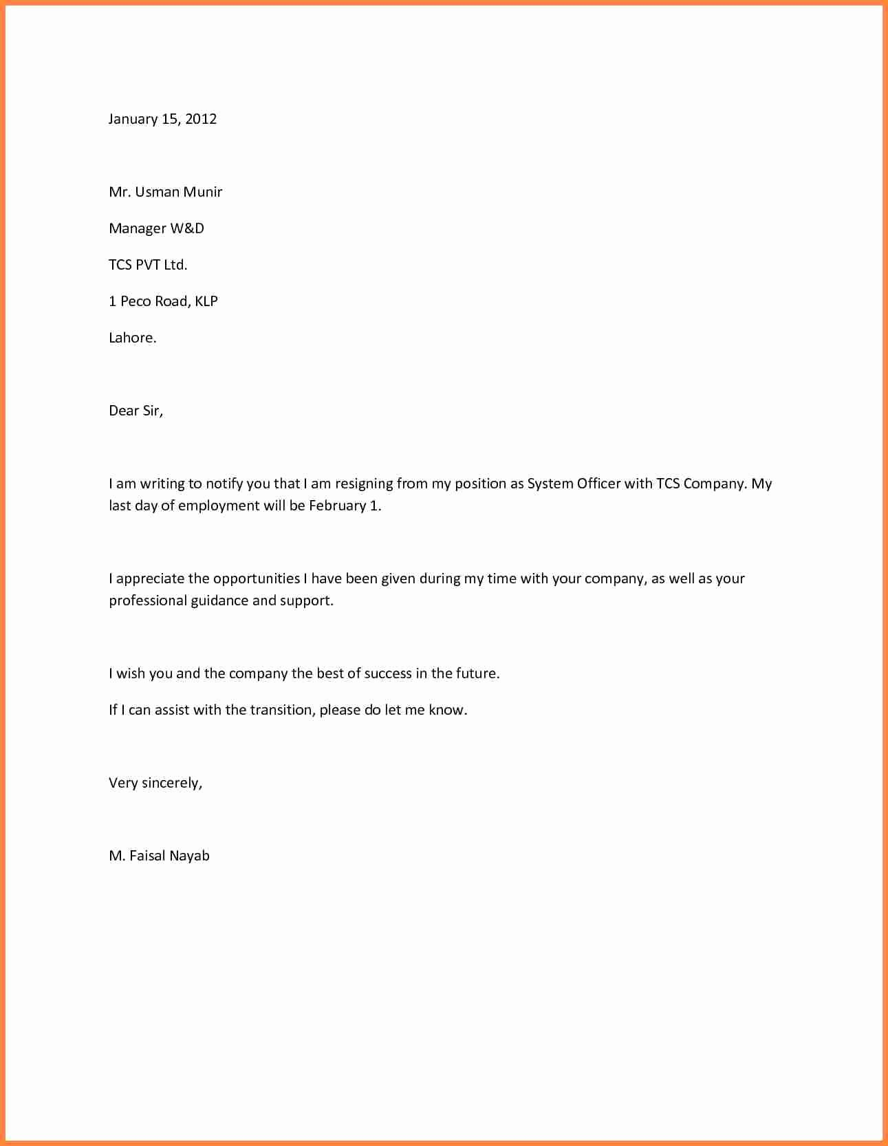 10 sample resignation letter one month notice doc