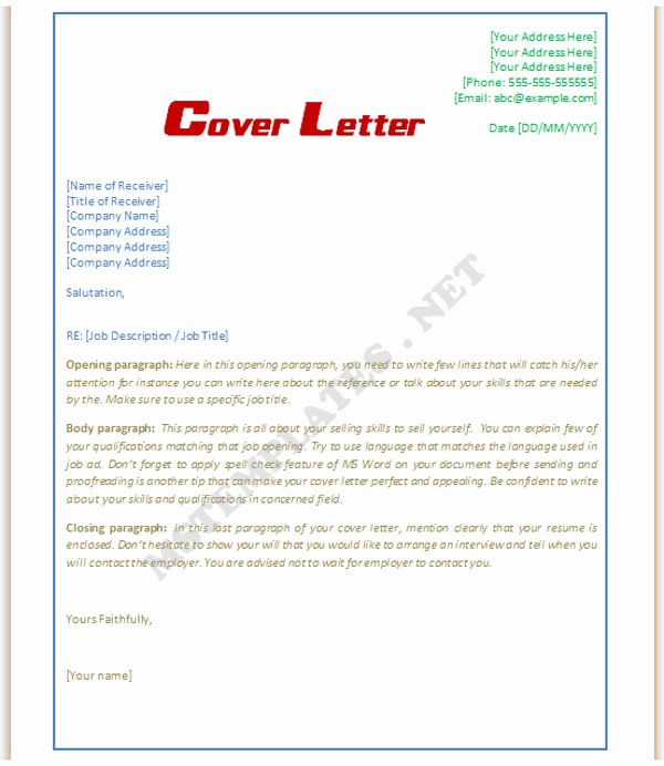 Cover Letter Template Doc Luxury Cover Letter Template Word Doc
