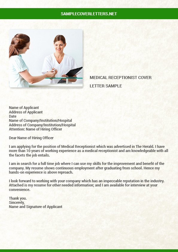 Cover Letter Template Receptionist Awesome Medical Receptionist Cover Letter