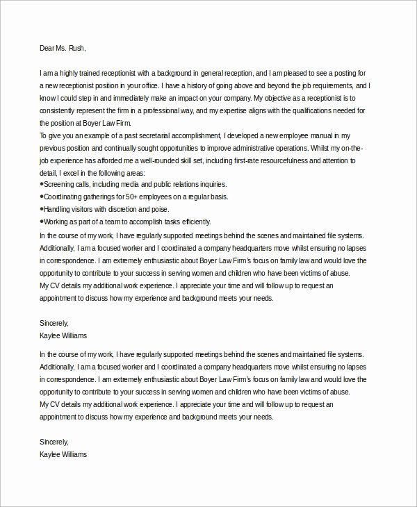 Cover Letter Template Receptionist Best Of 7 Sample Receptionist Cover Letters