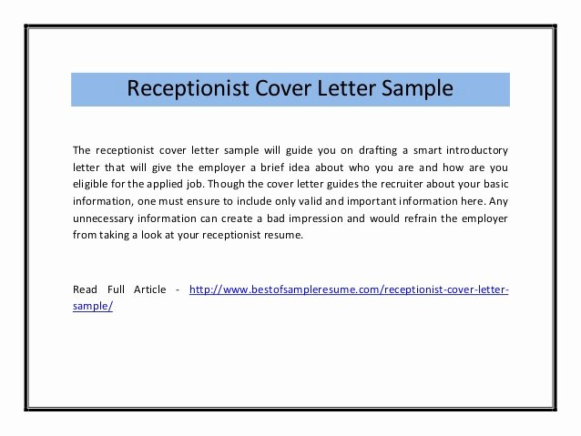 Cover Letter Template Receptionist Best Of Receptionist Cover Letter Sample Pdf