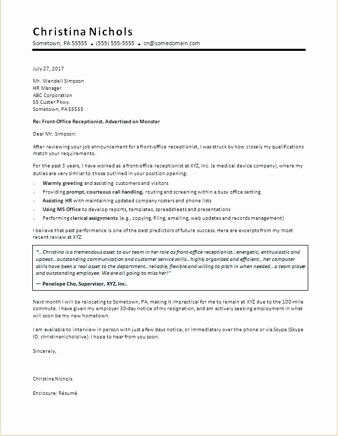 Cover Letter Template Receptionist Lovely Example Cover Letter for Receptionist – Trezvost
