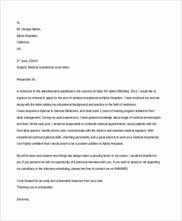 Cover Letter Template Receptionist Luxury Sample Medical Fice Receptionist Cover Letter