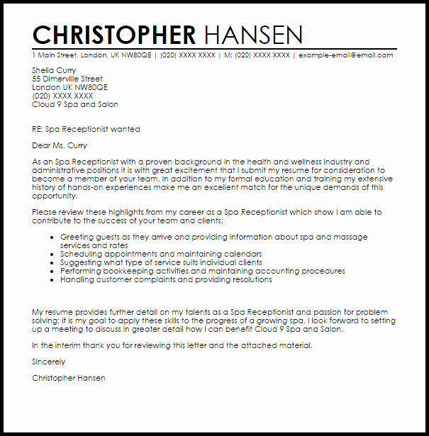 Cover Letter Template Receptionist New Spa Receptionist Cover Letter Sample