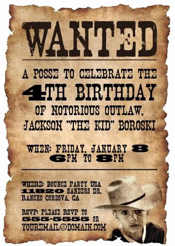 Cowboy Invitations Template Free Beautiful Printable Wanted Poster Western themed Birthday Party by