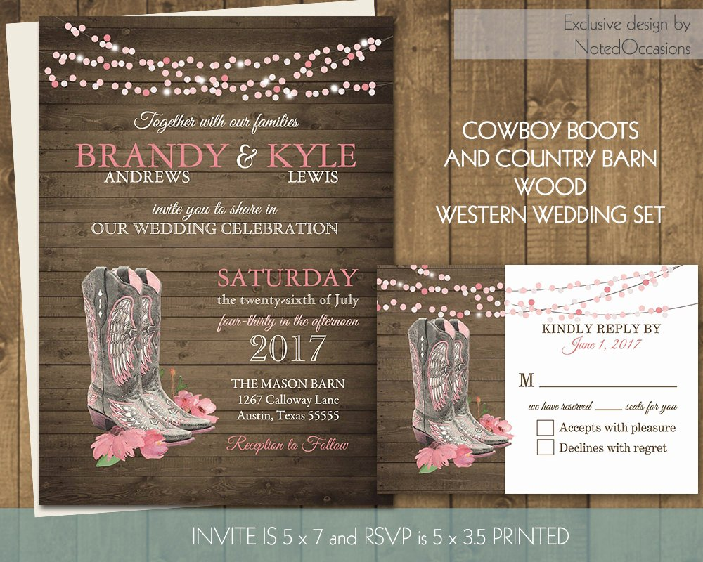 Cowboy Invitations Template Free Elegant Printable Country Western Wedding Invitations Set Cowboy Boots