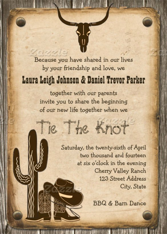 Cowboy Invitations Template Free Fresh 28 Western Wedding Invitation Templates – Free Sample