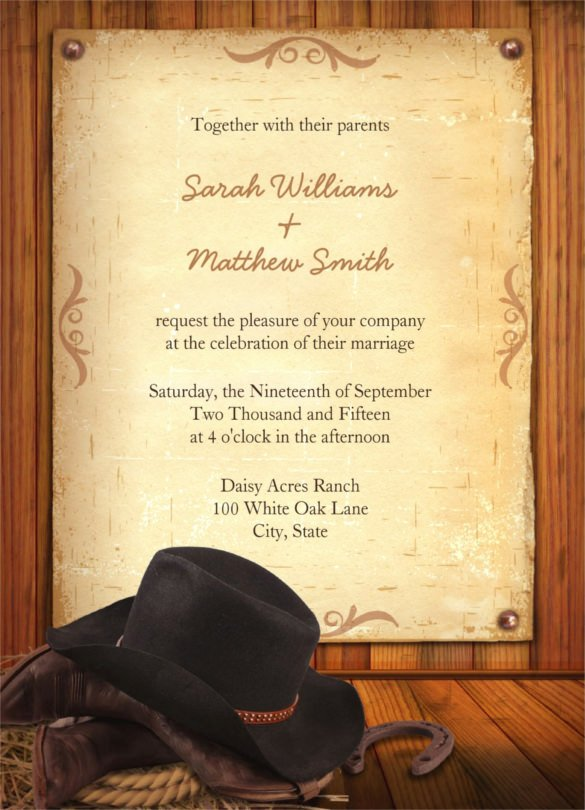 Cowboy Invitations Template Free Inspirational 28 Western Wedding Invitation Templates – Free Sample