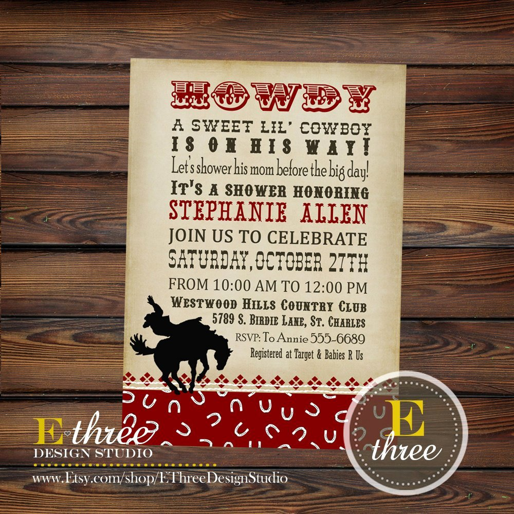printable baby shower invitation cowboy