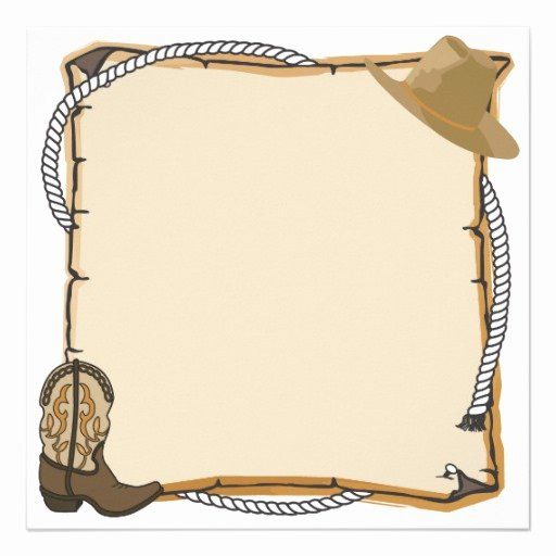 "Cowboy Invitations Template Free Lovely Country Western Party Invite Blank 5 25"" Square"