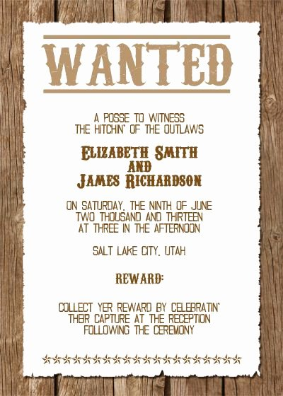 Cowboy Invitations Template Free Lovely Wanted Western Wedding Invitation Free Template