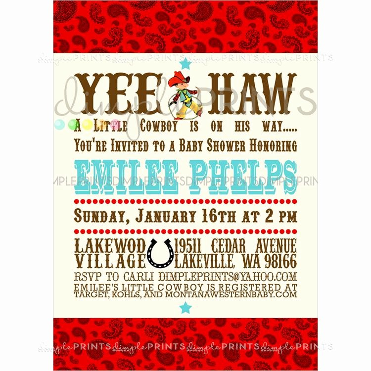 Cowboy Invitations Template Free Luxury Vintage Cowboy Printable Baby Shower Invitation Dimple