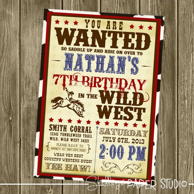 Cowboy Invitations Template Free New Cowboy Birthday Invitation