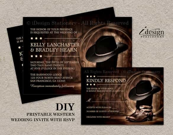 Cowboy Invitations Template Free Unique 85 Wedding Invitation Templates Psd Ai