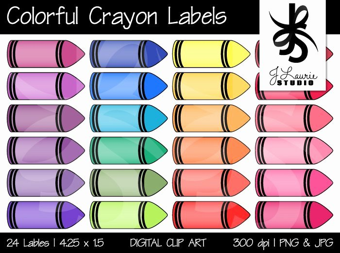 Crayola Crayon Label Template Awesome Digital Clipart Colorful Crayon Labels Printable Crayola