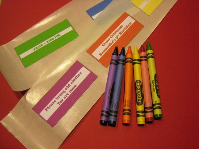 Crayola Crayon Label Template Fresh Crayola Crayon Party Invitations