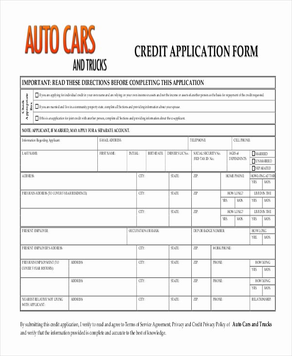 Credit Application Template Pdf Awesome Auto Credit Application Pdf