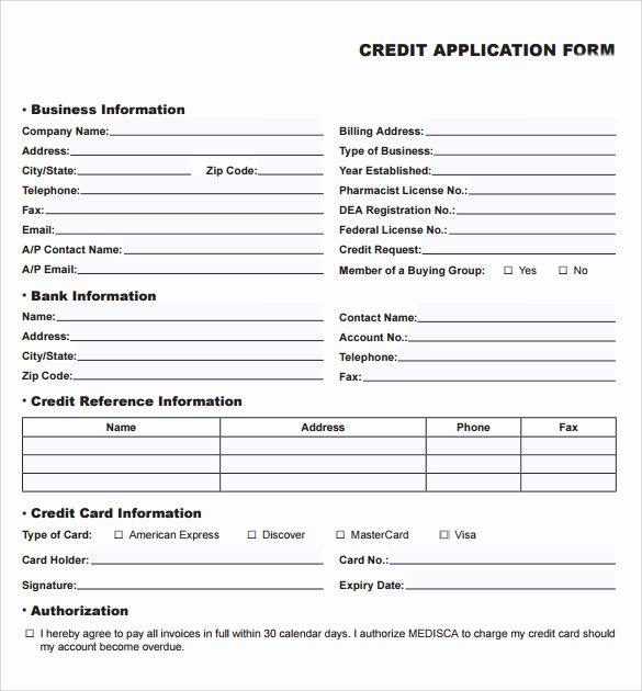 Credit Application Template Pdf Awesome Credit Application forms 9 Documents Free Download In
