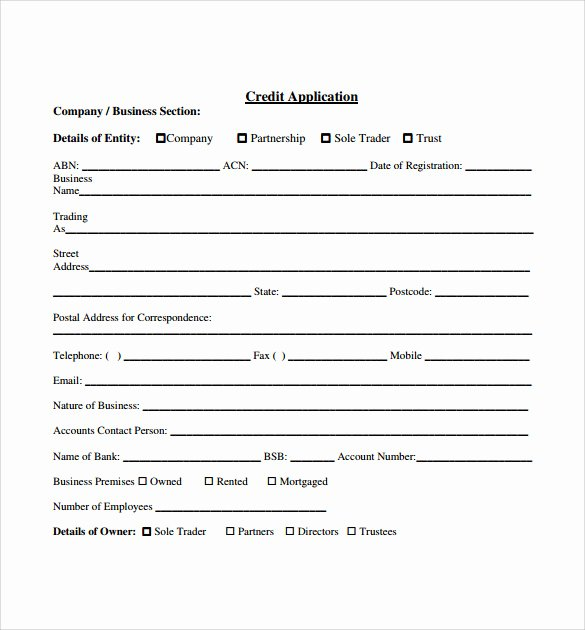 Credit Application Template Pdf Beautiful Credit Application forms 9 Documents Free Download In