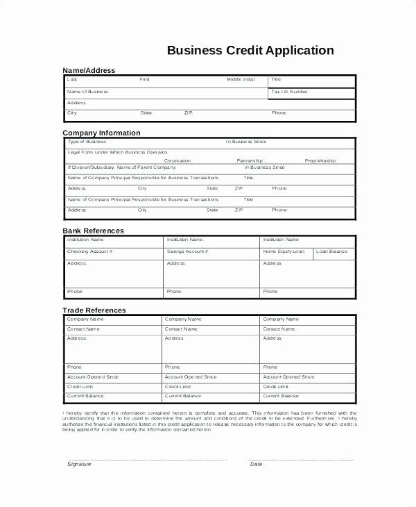 Credit Application Template Pdf Elegant Basic Business Credit Application form Pany forms