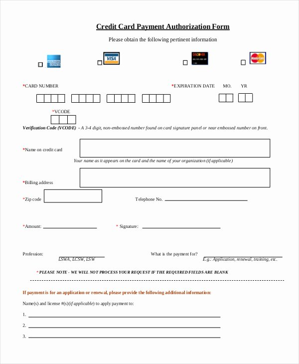Credit Card form Template Awesome Credit Card Authorization form Pdf