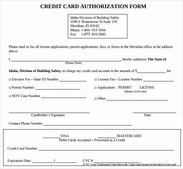 Credit Card form Template Elegant Authorization for Credit Card Use Free forms Download