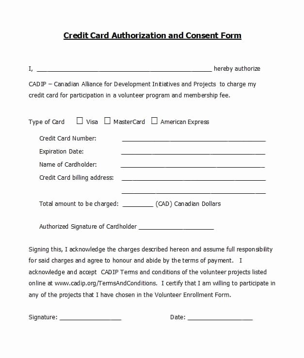 Credit Card form Template Fresh 41 Credit Card Authorization forms Templates Ready to Use