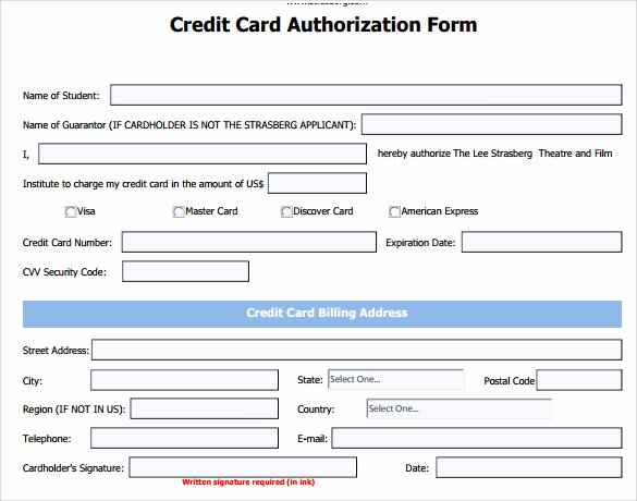Credit Card form Template Fresh 7 Credit Card Authorization forms to Download