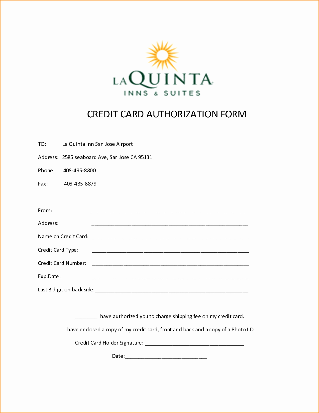 Credit Card form Template Lovely 10 Credit Card Authorization form Template Free Download
