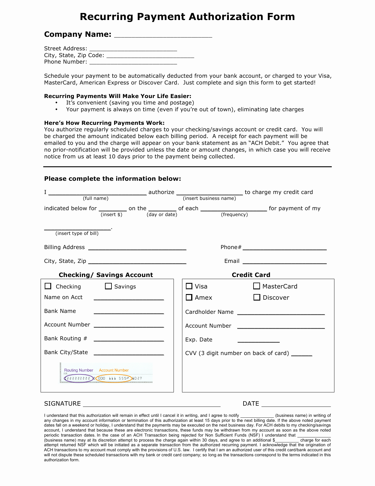 Credit Card Payment Template Best Of Download Recurring Payment Authorization form Template