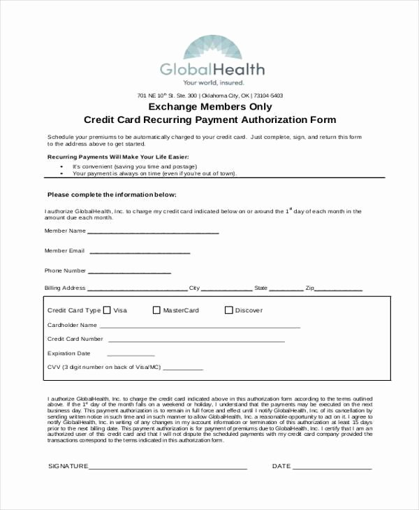 Credit Card Payment Template Luxury Authorization form Templates