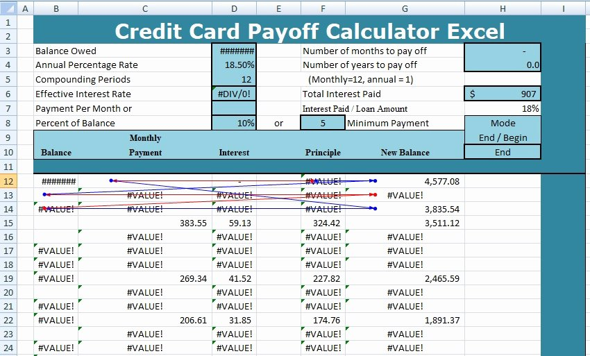 Credit Card Payment Template Luxury Credit Card Payoff Calculator Excel