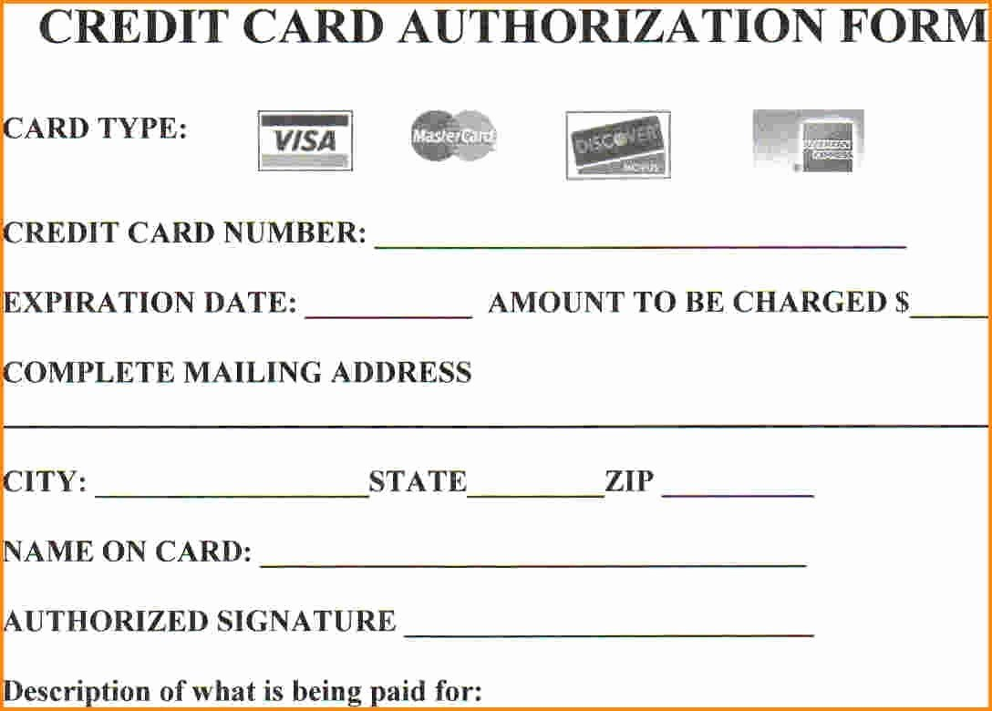 Credit Card Payment Template New 25 Credit Card Authorization form Template Free Download