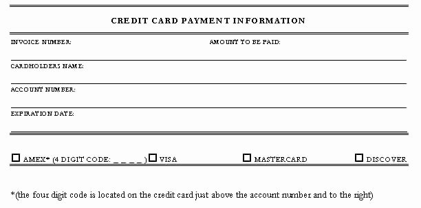Credit Card Payment Template New 5 Credit Card Authorization form Templates formats