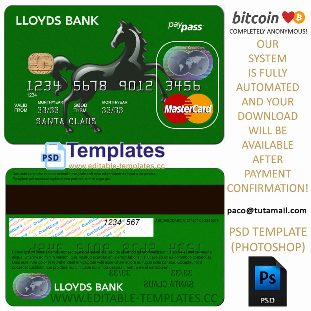 Credit Card Photoshop Template Beautiful Fully Editable Lloyds Credit Card Psd Template